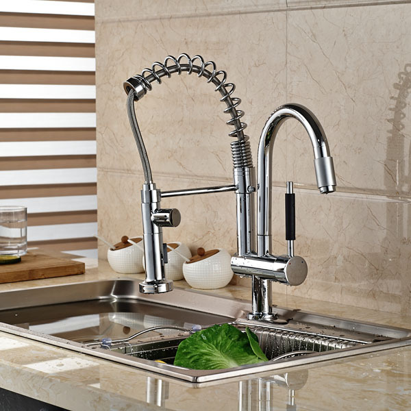 Chrome Finish Brass Kitchen Sink faucet Two Spouts Spring Kitchen Mixer Tap 2 Spouts Kitchen Water tap luxury solid brass kitchen faucet dual spouts vessel sink mixer tap w 8 plate