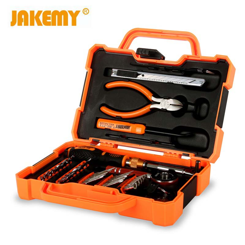 JAKEMY JM-8146 47 In 1 Multi Function Professional Household Tool Repair Screen Tablet Computer Repair Kit With Ratchet jakemy 73in1 screwdriver set 180adjustable magnetic ratchet laptop computer household auto car mechanic repair tool kit jm 6113
