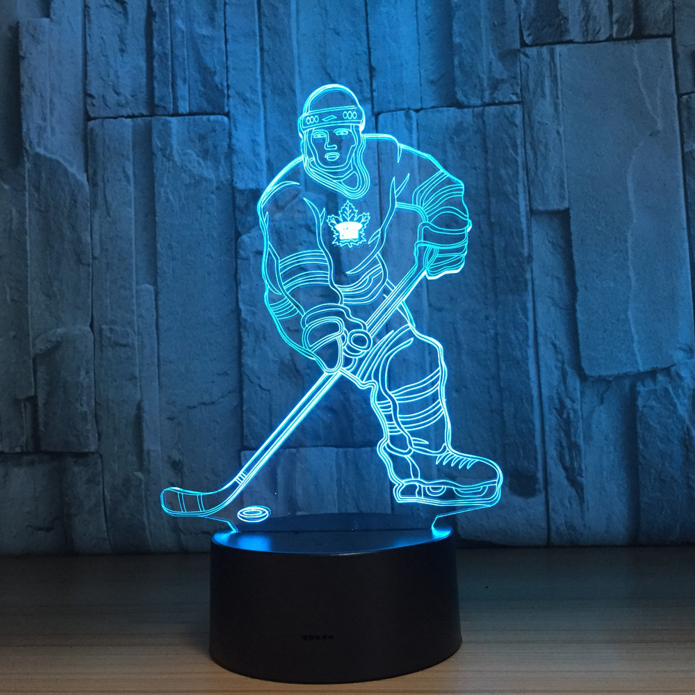Sensor 3d Night Light LED Touch Man Ice Hockey Player 7 Color USB Acrylic 3D Lamp Sports Desk lamp As Christmas Decoration цена