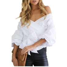 Sexy v-neck cross Bandage shirts Casual white long sleeve Blouses Women Autumn New off shoulder Lace Up Blusas Lady Cotton Tops
