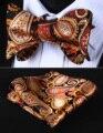 Bolso praça BP706ZS laranja Brown Paisley homens gravata de seda do laço lenço conjunto