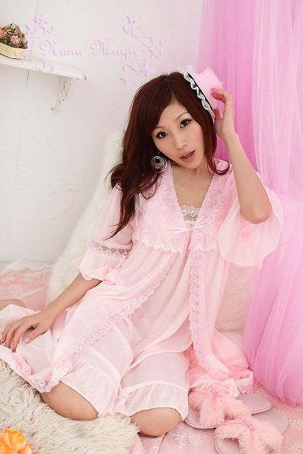 2013 Cute and sexy bud silk women's pajamas condole belt sleepwear nightgown two suits dress+ night-robe