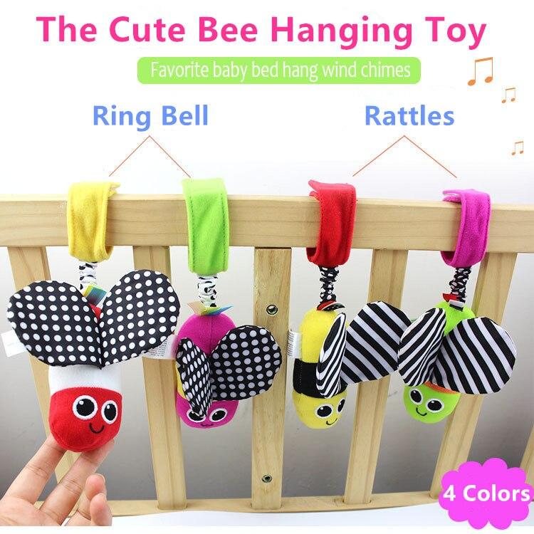 Лидер продаж детские погремушки висит пчела с Звук милые животные детские кроватки коляска игрушка 0-12 месяцев плюшевые бабочка Кровать Игровая кукла