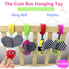 HOT Sale Baby Rattles hanging Bee with sound Cute Animal Infant Baby Crib Stroller Toy 0-12 months Plush Butterfly Bed Play Doll(China)