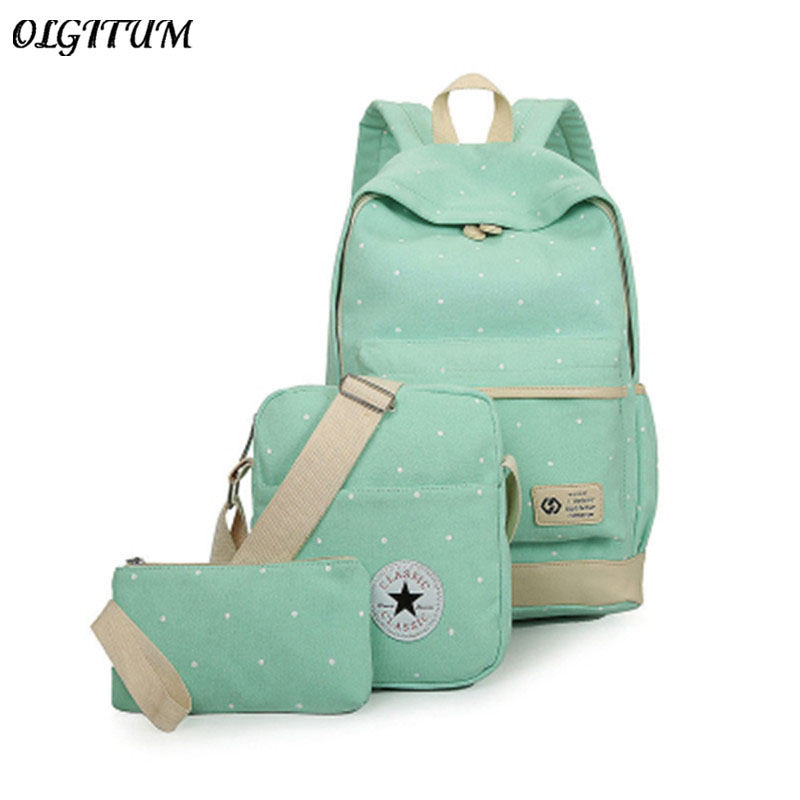 2018 New arrived wave dot Printing Women Backpack Set Teenage Girls School Bags Canvas Candy Color School Bag Set For 3 Pieces