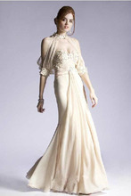 free shipping 2015 Exquisite Customized Beige Chiffon vestidos formales Strapless Mermaid brides maid dresses Evening Long Dress
