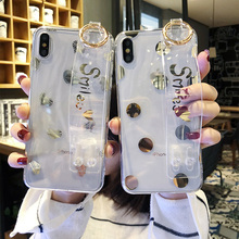 Gilding smile tpu case for iphone 7 8 6 6s plus X XR XS MAX cover fahion wristband holder soft transparent phone bag capa
