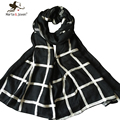 Simple Design Grid Scarves for Women Pure Cotton Oversized Long Shawls China Ethnic Style Chessboard Plaid Scarf Ladies Foulard