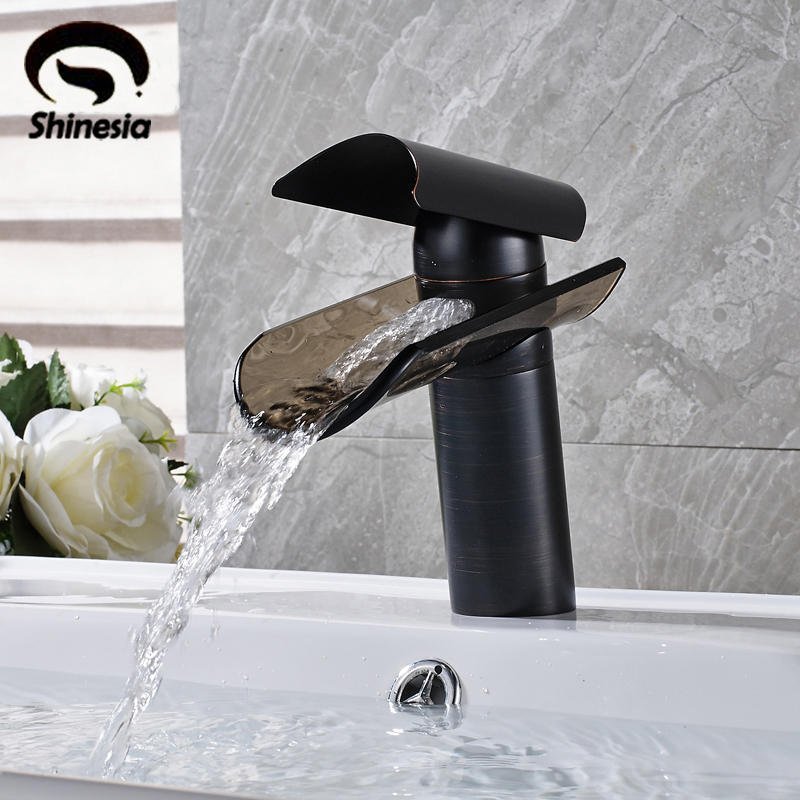 Oil Rubbed Bronze Glass Waterfall Spout Bathroom Sink Faucet Single Handle Brass Mixer Tap oil rubbed bronze finished bathroom sink faucet single handle waterfall spout tub mixer tap wall mounted