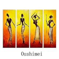 Hand Painted Picture Sexy India Dancer Paintings On Canvas Oil Painting Handmade Wall Art African Black Women Portrait Pictures