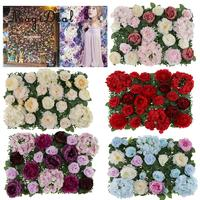 Artificial Rose Peony Hydrangea Flower Wall Panels Backdrop Blue