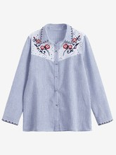 New Women Fashion Casual Long Sleeve Floral Embroidered Sheer Stripes Shirt Blouse