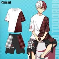 Anime Boku no MY HERO ACADEMIA Todoroki Shoto Cosplay T Shirt Cotton Plaid Shirt Pants freeship