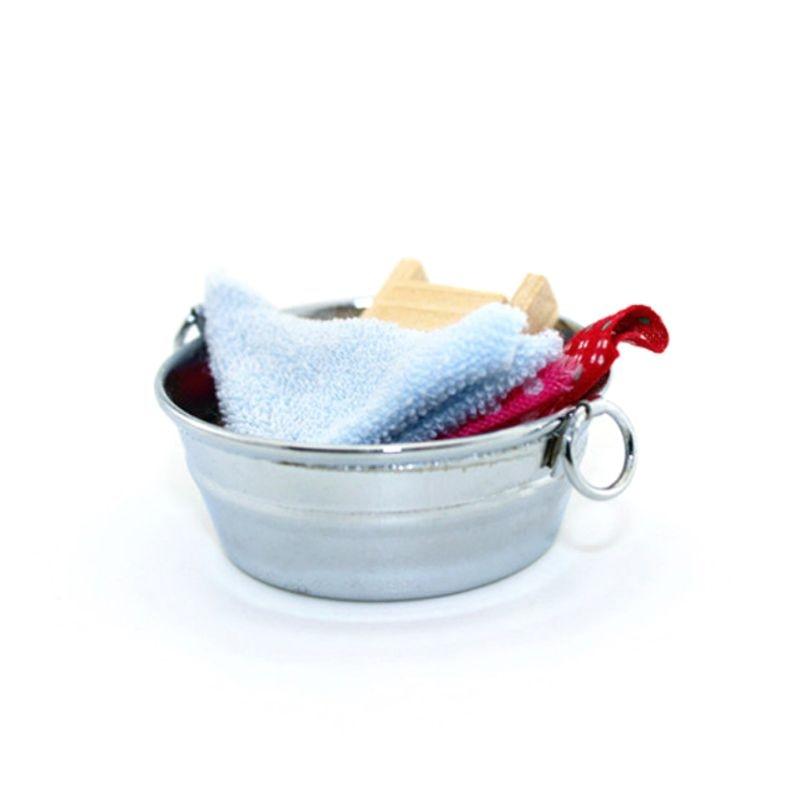 Funny Toys Simulation Mini Washtub Wash Tank Washboard 1:12 Miniature Dollhouse Accessories Crafts Toys Bathroom Decoration