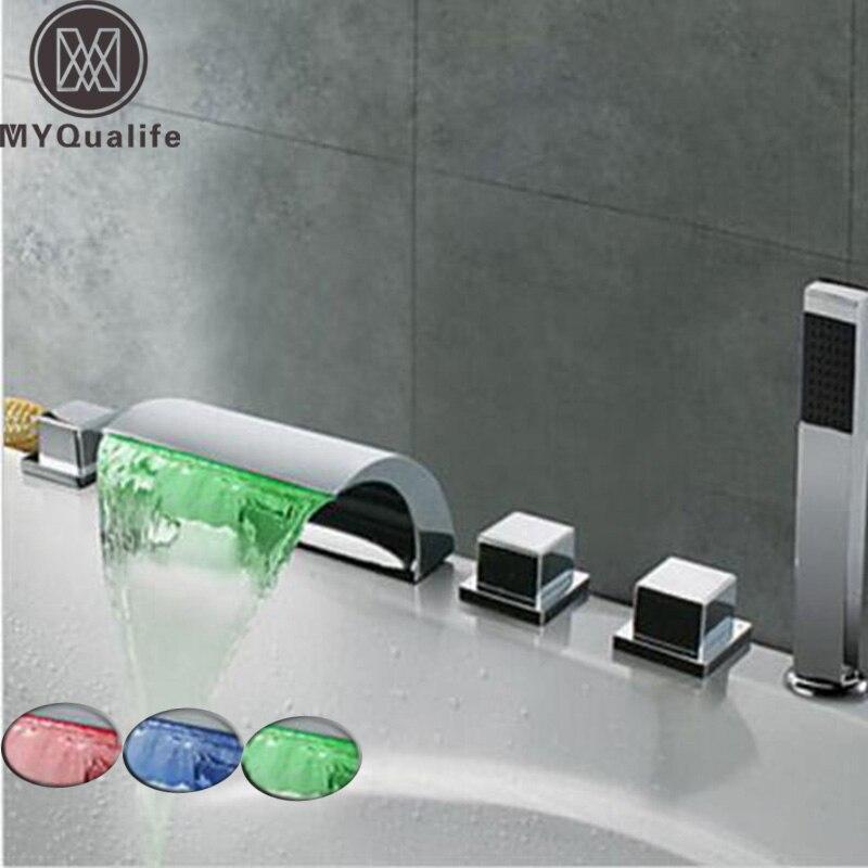 Светодио дный LED Водопад для ванной кран Широкое Ванна раковина смесители хром латунь Ванная комната для душа с Handshower