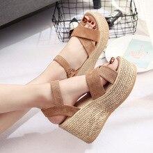 Sandalias de cuña para mujer, zapatos superaltos con plataforma, tacones altos, a la moda, SH030503, para verano, 2020