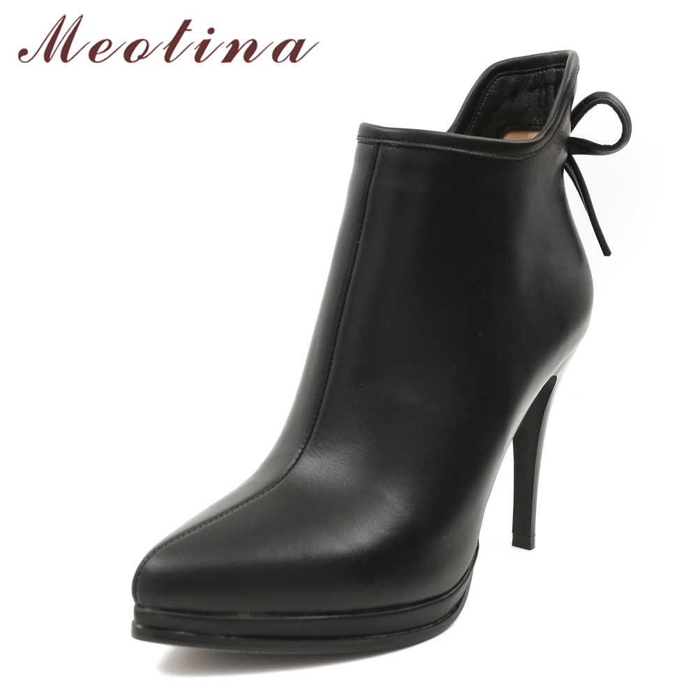 Meotina Echt Lederen Laarzen Vrouwen Schoenen Platform Hoge Hak Laarzen Boog Natuurlijke Echte Lederen Enkellaarsjes Sexy Schoeisel 40