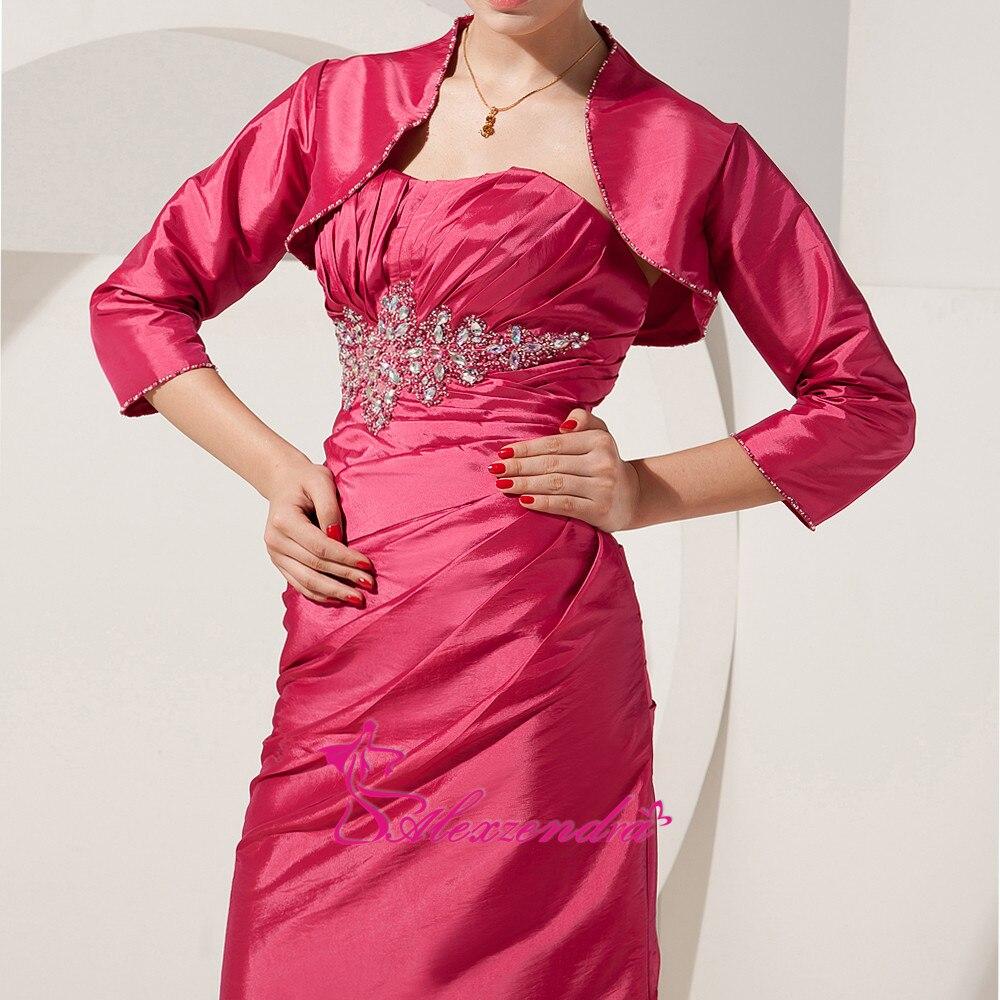 Alexzendra chérie perlée longue mère de mariée robe avec veste droite longues robes de soirée grande taille - 4