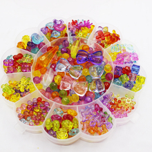 380Pcs-420pcs Colorful Sun flower boxed Plastic Acrylic Bead DIY Bracelet Handmade Toys Jewelry Making Educational for Kids Toys