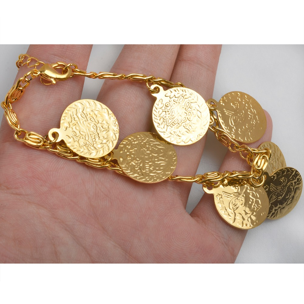 Anniyo 19cm Turkey Coin Bracelet For Women Ethnic Metal Coins Jewelry Arab Wedding Gift Turks Middle East African Gifts 008201 In Charm Bracelets From