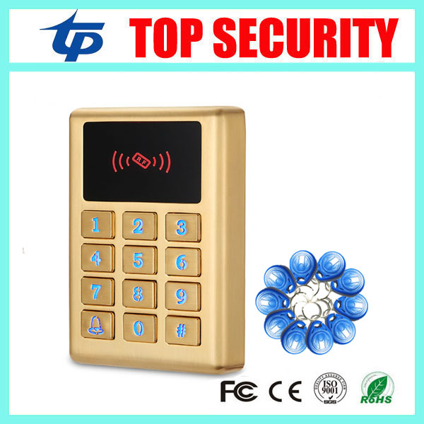 Surface waterproof access control card reader with led keypad 125khz RFID card door access controller +10pcs RFID key weigand reader door access control without software 125khz rfid card metal access control reader with 180 280kg magnetic lock