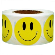 New Trend Yellow Smiley Face Happy Stickers 2 Round Teacher Labels Self-adhesive Smiley Sticker for Cloth Bags Diary Decoration цена