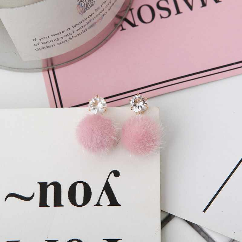 2018 New Fashion Red Pink Plush Ball  Earrings For Women Korean Style Velvet Round Earrings Exquisite Wedding Party Gift Jewelry