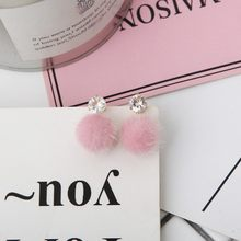 2018 New Fashion Red Pink Plush Ball Earrings For Women Korean Style Velvet Round Earrings Exquisite Wedding Party Gift Jewelry(China)