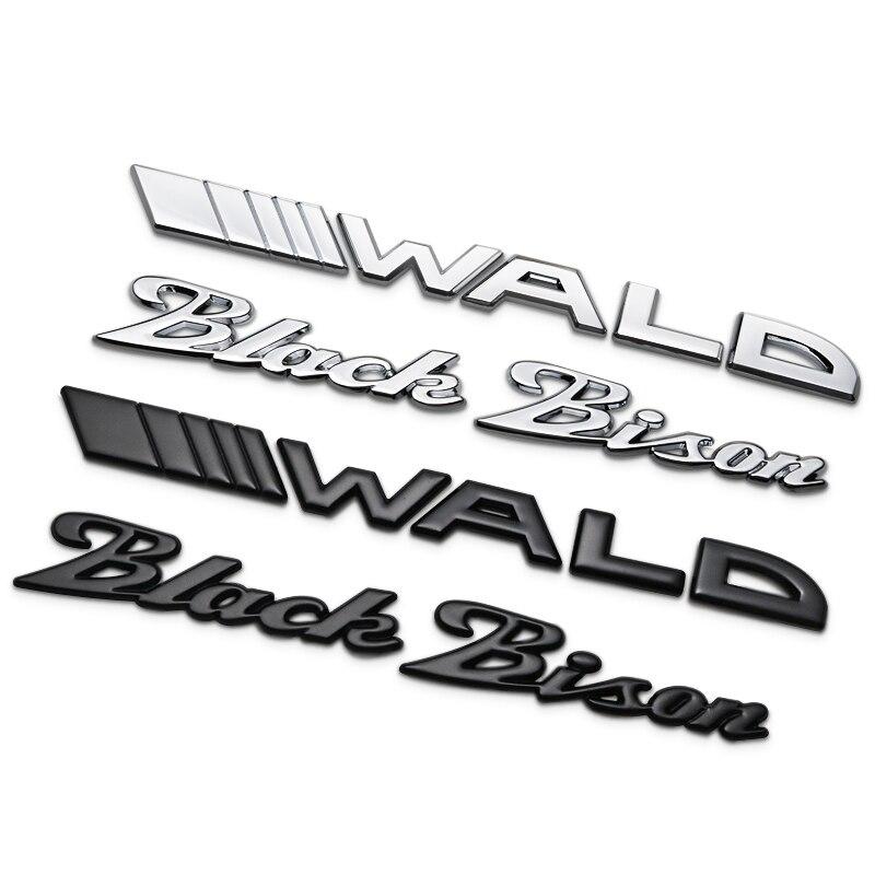 Dsycar 1 pçs 3d metal wald preto bison fender lateral do carro tronco traseiro emblema adesivo decalques para mercedes-benz e s, acessórios
