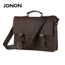 JONON Genuine Leather Handbags Strap Men Bags Leather Portfolio Laptop Bag Men High Briefcase Messenger Shoulder Bag JJ0024