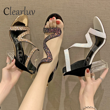 2019 sexy sequins high-heeled thick with a word hollow T-stage catwalk female fashion sandals waterproof platform heels