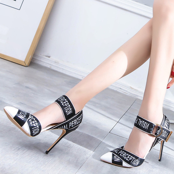Alphabet Style Female+Shoes Sexy Pointed Toe Thin High Heels Celebrity Mixed Colors Stiletto Pumps Women Shoes Chaussures Femme