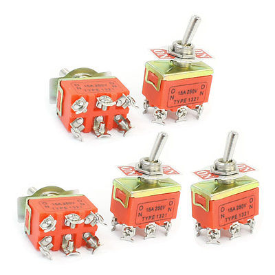 5 Pcs 2-position On-on Dpdt Self-locking Toggle Switch Ac 250v 15a 1321 Home Appliances