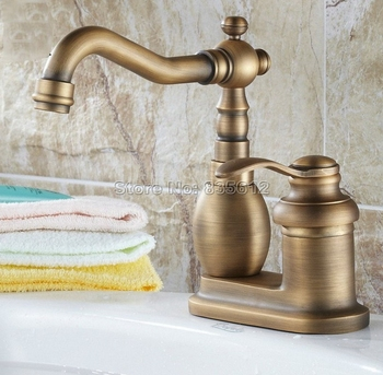 Retro Antique Brass Single Handle Bathroom Wash Basin Mixer Taps / 2 Hole Deck Mounted Swivel Spout Vessel Sink Faucets Wnf261