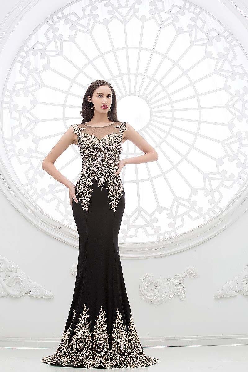 2018 Luxury Real Bilder Schwarz Rot spitze Formal Appliques Pageant prom Party kleid Sheer Neck Indien Arabisch brautjungfer kleider - 4