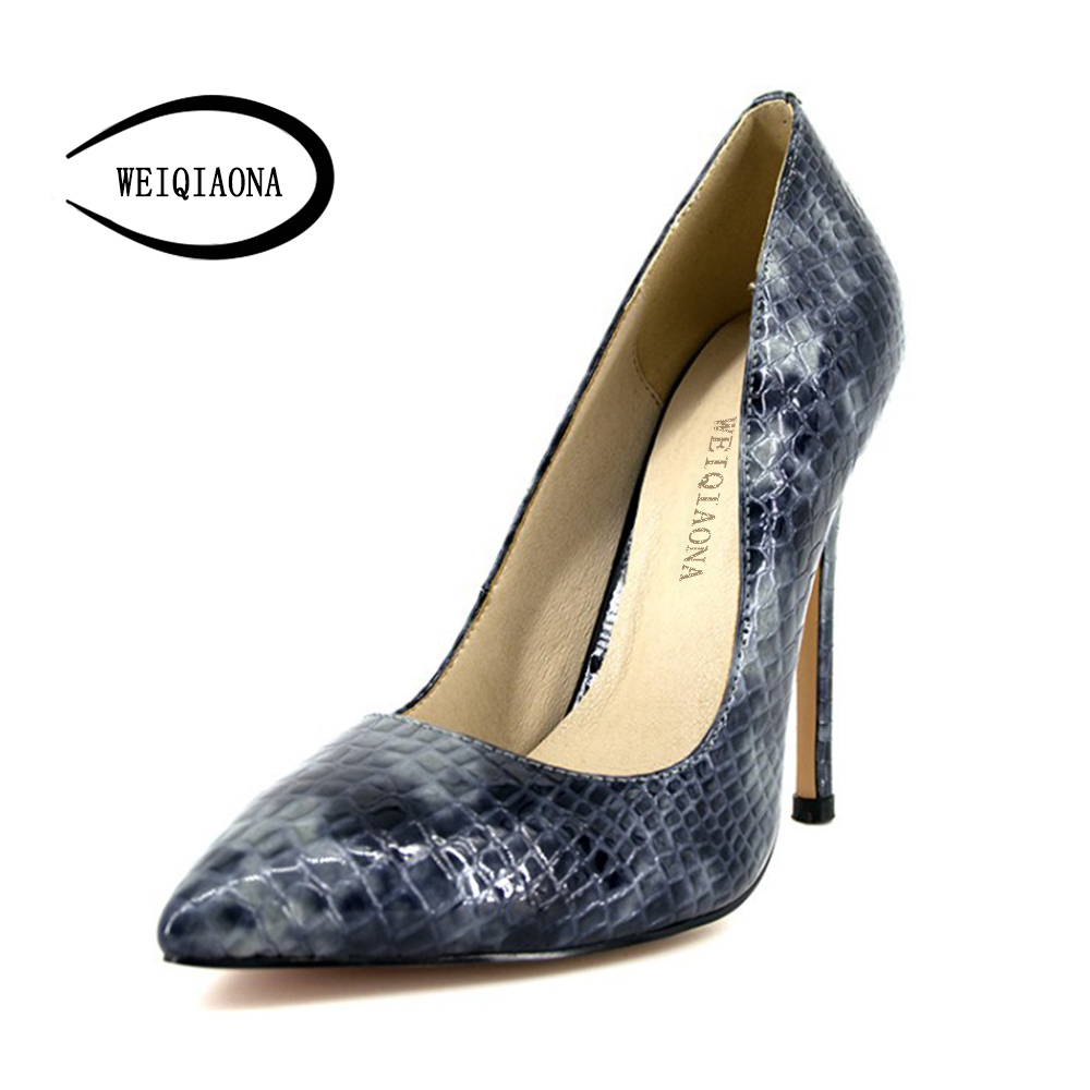 WEIQIAONA 2018 New Fashion thin high heel shoes women Genuine Leather Sexy snake pattern Shallow single pumps Dress Party shoes weiqiaona european 2018 women new fashion show leather snake skin rhinestone flowers high heel sandalss sexy ladies party shoes