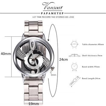 Vansvar Brand Musical Note Fashion Luxury Hollow Stainless-Steel Silver Quartz Watches 4