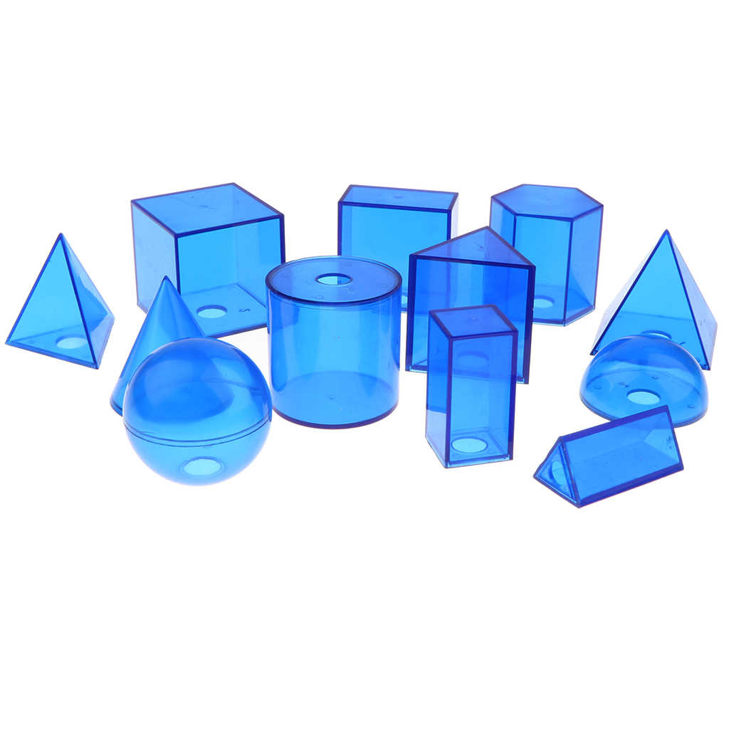 Pack of 12Pcs Plastic Geometric Solids - 3D Geometry Exploring Volume Shape Visual Aids Mathematics Math Educational Student Toy