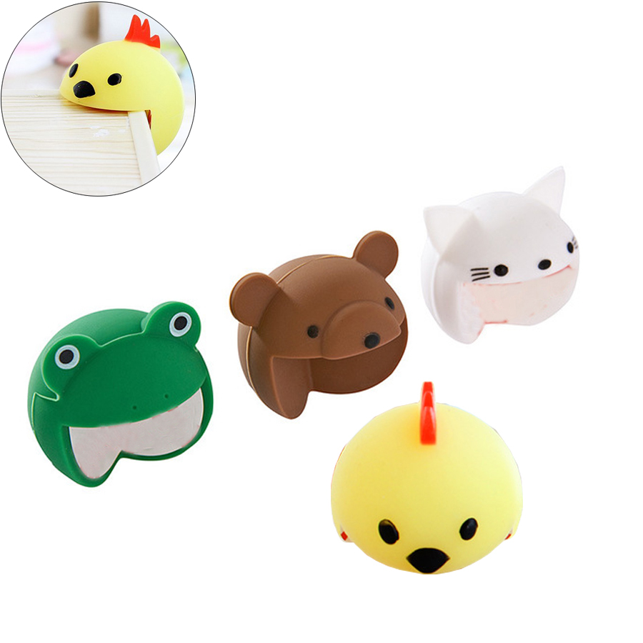 4pcs/lot Cute Animals Cartoon Style Protector Esquina Mesa Door Cabinet Furniture Corner Guards Soft Silicone Corner Protectors
