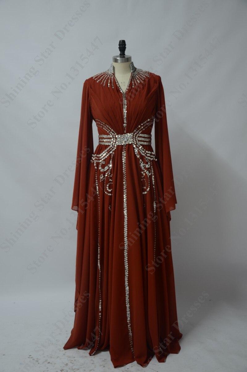 Dubai Caftan Evening Dresses Long Sleeve With Hijab 2018 LORIE Abendskleid  Abaya Muslim Chiffon Beading Long Prom Party Dress