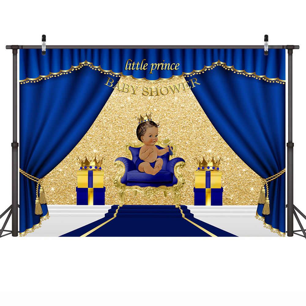 Bleu Royal bébé douche toile de fond petit Prince Photo fond cadeaux et or couronne décors pour baptême baptême anniversaire