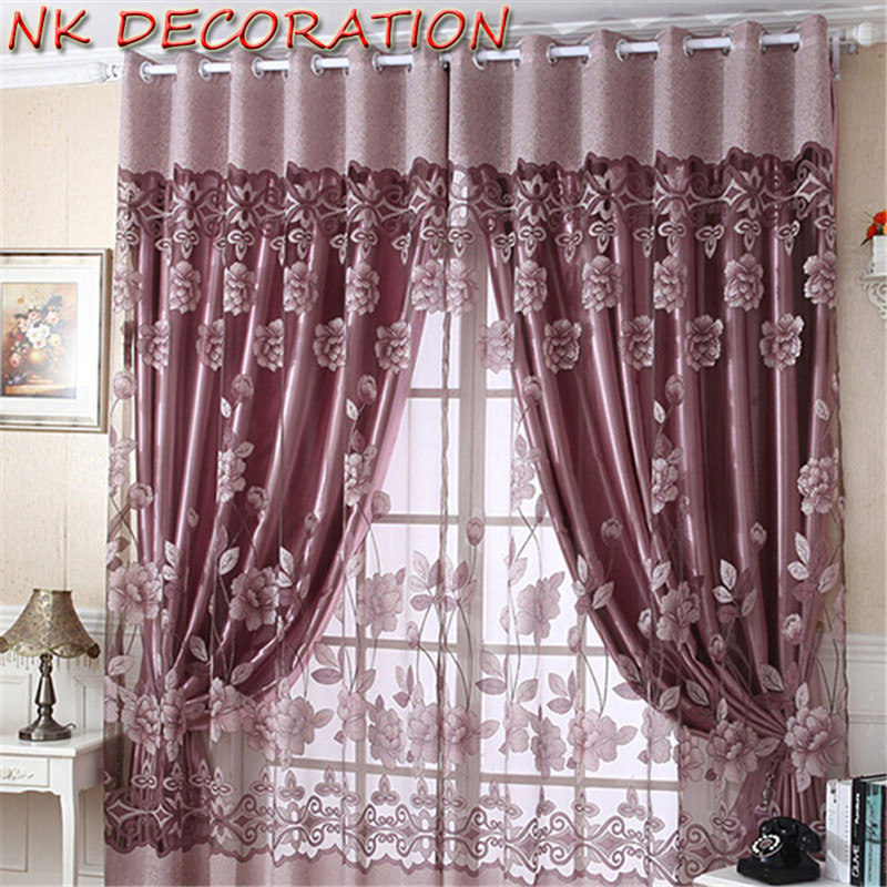 NK DECORATION 1m*2.5m Luxury  Modern Burnout Flower Tulle Window Curtain Set Of Blackout Sheer Curtain For Lliving Room Bedroom