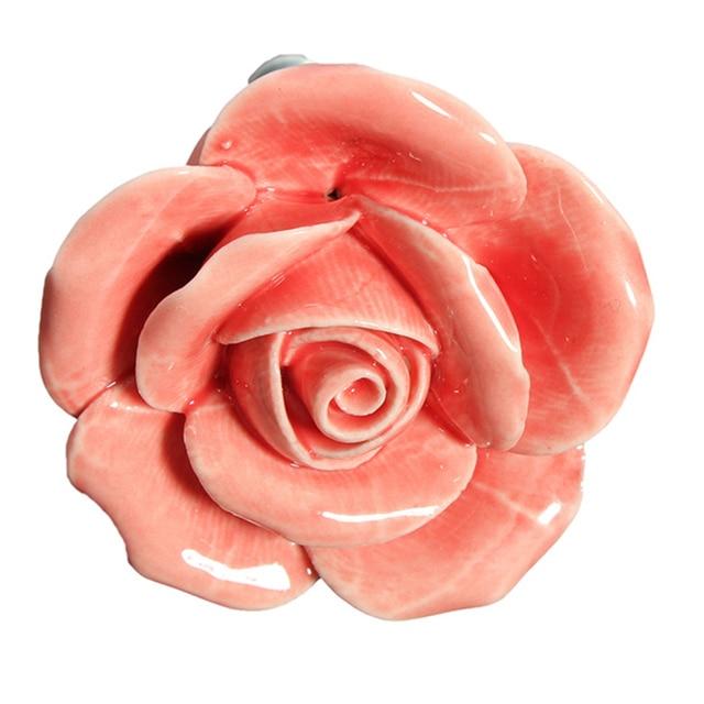 5 X Button Door Handle Drawer Cabinet Closet Ceramic Flower Rose Dresser  Knob Pink