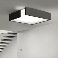 luminarias paraModern Remote control square LED panel surface mounted ceiling lamp White/Black bathroom lighting AC110 240V