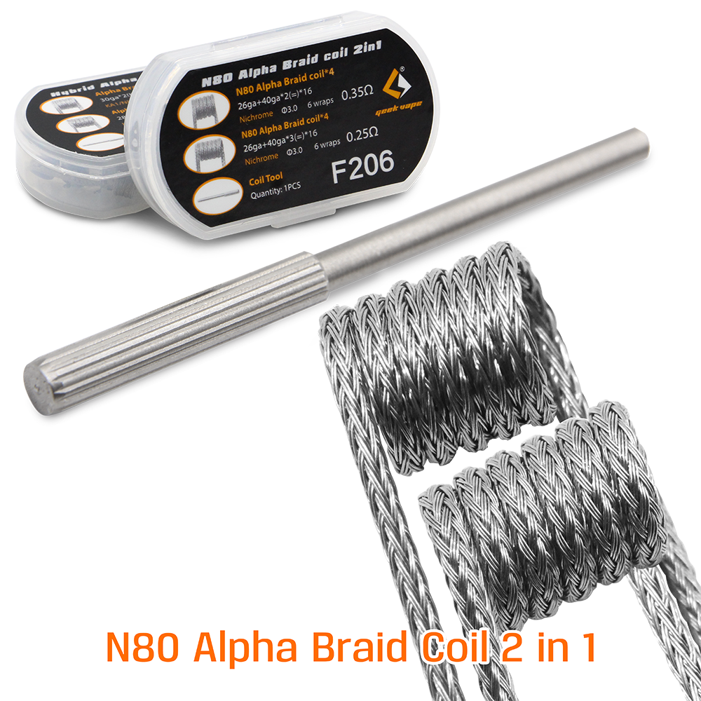 Originale geekvape F205 Hybrid Alpha Treccia Bobina 2 in 1 e F206 N80 Alpha Treccia bobina 2 in 1 pre -costruito bobine per RDA RTA RDTA FAI DA TE