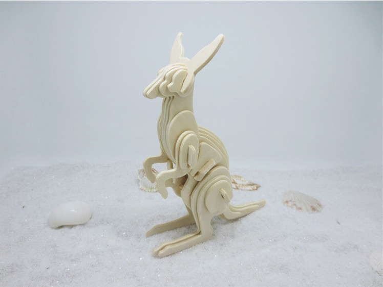 1lot DS254 Wooden 3D Puzzle Toys Model Kangaroo Shaped Jigsaw Toy for Children and Students Free Shipping Russia wooden magnetic tangram jigsaw montessori educational toys magnets board number toys wood puzzle jigsaw for children kids w234