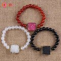 UMY Gold Plated Druzy Rock Crystal Colored Connect Round Beads Agate Stretch Bracelets For Women