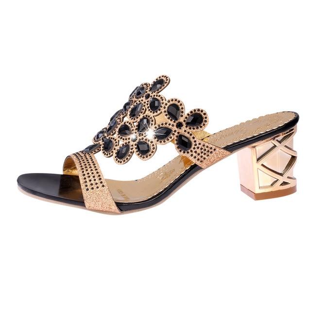 Designer Sandals Women 2018 Ladies Slides Women Slippers Sandals Summer Crystal Shoes Peep Toe Middle Heels Zapatos Mujer 5
