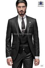 Best Selling 2016 Custom Business Mens Suits Italian Black Wedding Suits For Men Groom Suit Men Tuxedo Suits (Jacket+Pants+Vest)