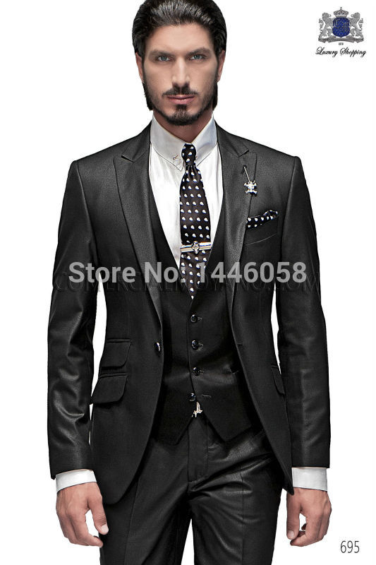 Best Selling 2018 Custom Business Mens Suits Italian Black Wedding Suits For Men Groom Suit Men Tuxedo Suits (Jacket+Pants+Vest)